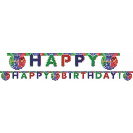 PJ Masks, Pizsihősök Happy Birthday felirat 200 cm
