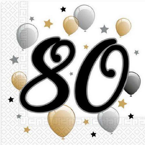 Milestone, Happy Birthday 80 szalvéta 20 db-os